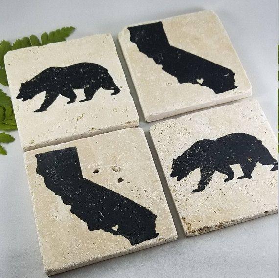 California State Bear Coasters Set Of 4 Etsy Custom Coasters Coasters Coaster Design