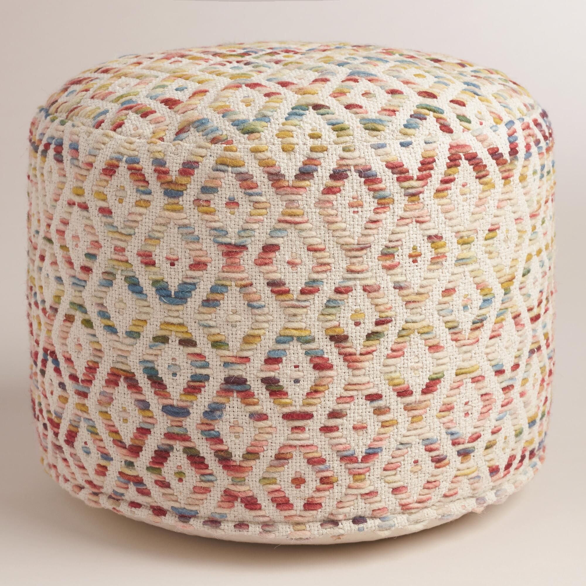 Our exclusive floor pouf features a thick multicolor diamond weave ...