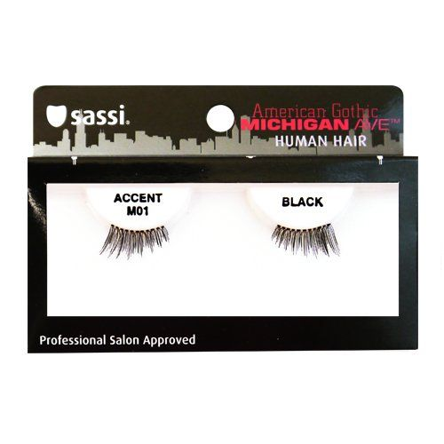 Sassi 804-M01 Michigan Ave 100% Human Hair Accent Eyelashes, Black, 6 Count * See this great product.