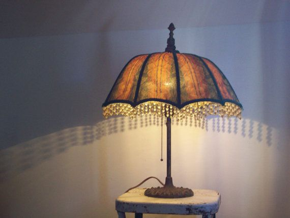 Antique Umbrella Lamp 1930 S Cast Iron Base Original Etsy Lamp Vintage Lamps Old Lamps