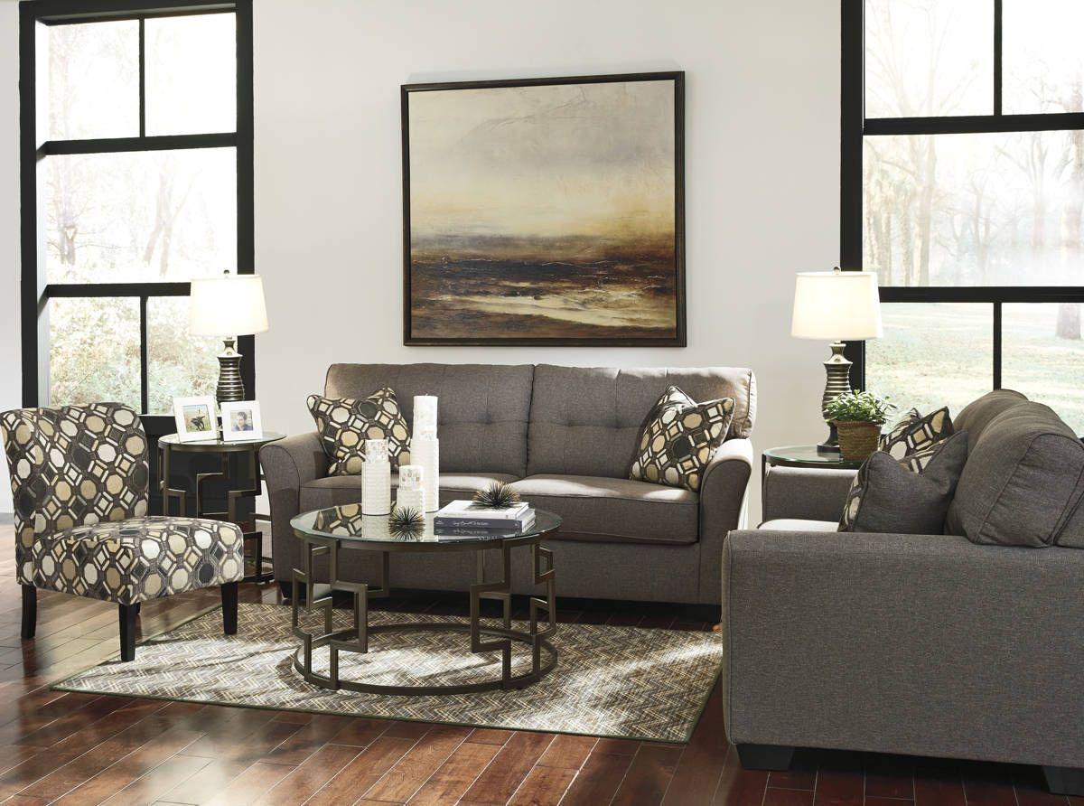 Tibbee Contemporary Slate Pebble Fabric Wood Living Room Set