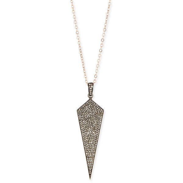 Siena Jewelry Wide Diamond Dagger Necklace with Rose Gold Chain (€1.150) ❤ liked on Polyvore featuring jewelry, necklaces, rose gold diamond pendant, pave diamond necklace, rose gold chain necklace, diamond chain necklace and chain necklaces