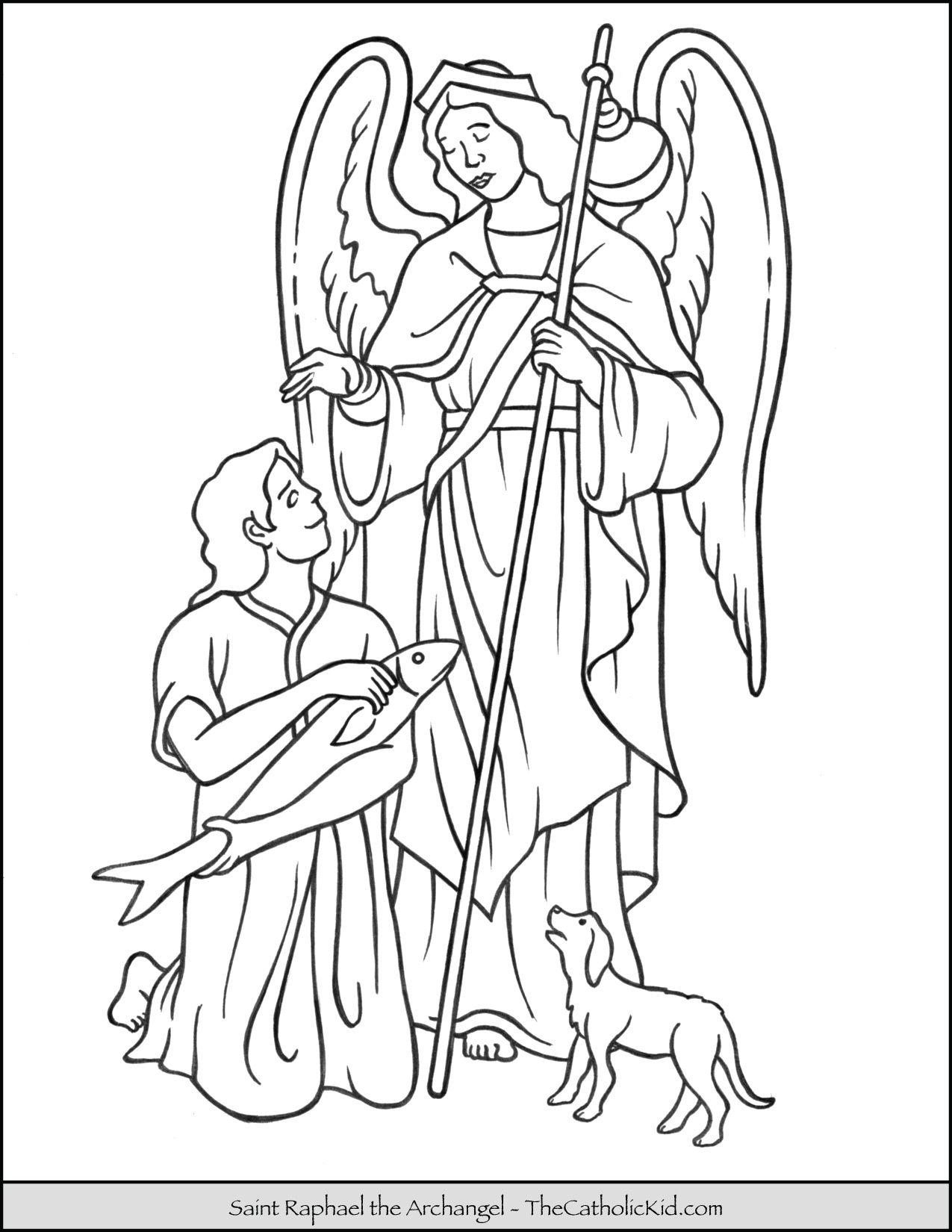 Saint Raphael Archangel Coloring Page Thecatholickid Com St