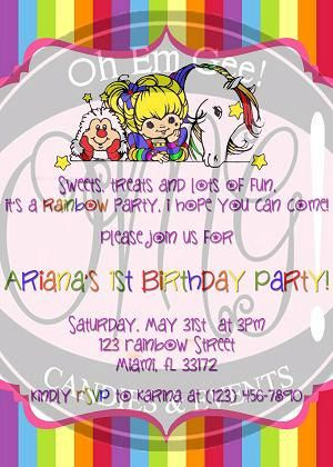 Rainbow Brite Birthday Invitation By Omgcandiesandevents On Etsy 700
