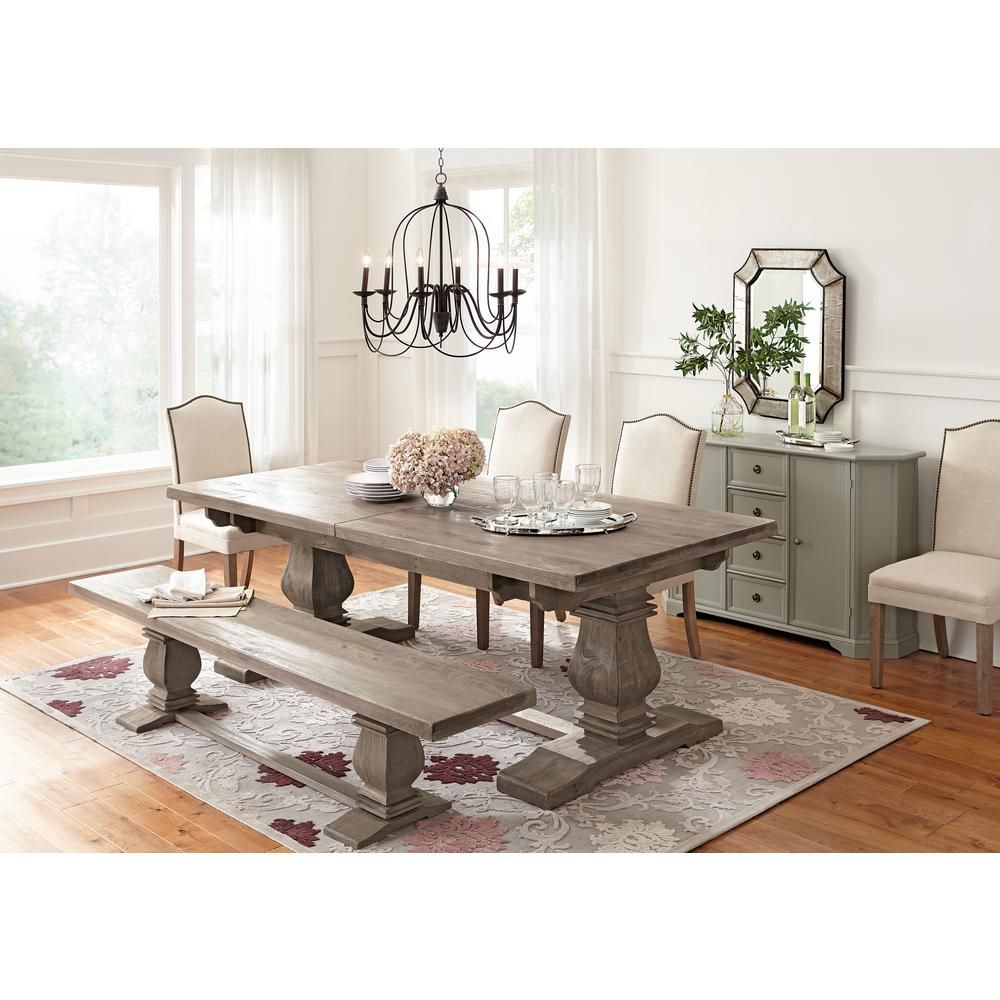 Home Decorators Collection Aldridge Antique Grey Extendable Dining Table 1673000270 The Depot