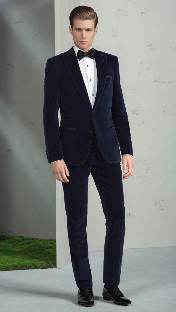 Men Designer Wedding Grooms Tuxedo Dinner Casual Velvet Suit Coat ...