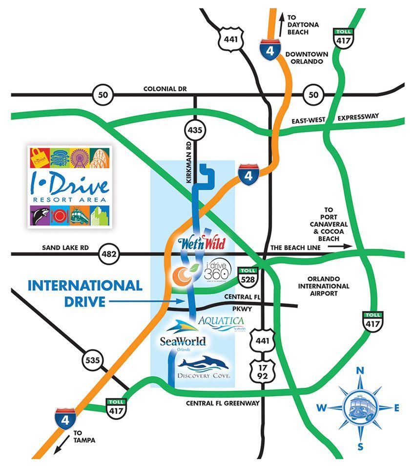 Orlando Florida On Us Map.Orlando Maps Maps Of I Drive International Drive Resort Area