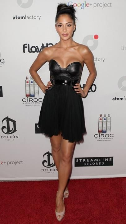 Nicole Scherzinger in Kristian Aadnevik dress at the Atom Factory MTV VMA dinner party 2012