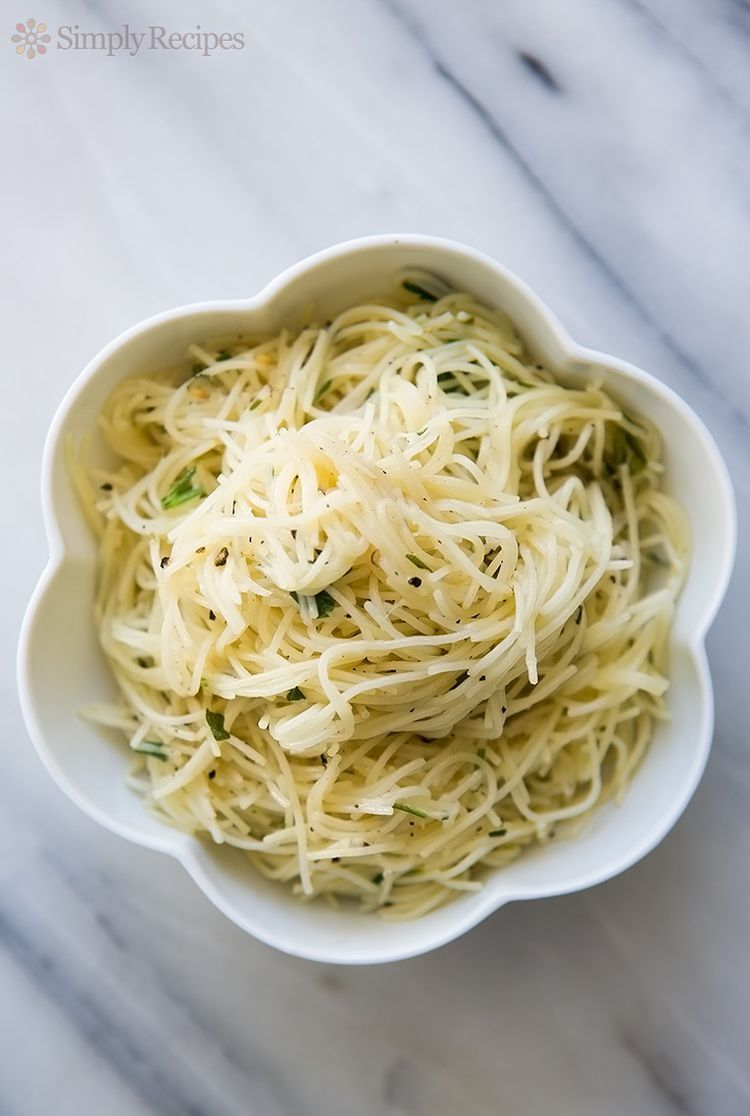 Angel Hair Pasta with Garlic, Herbs, and Parmesan
