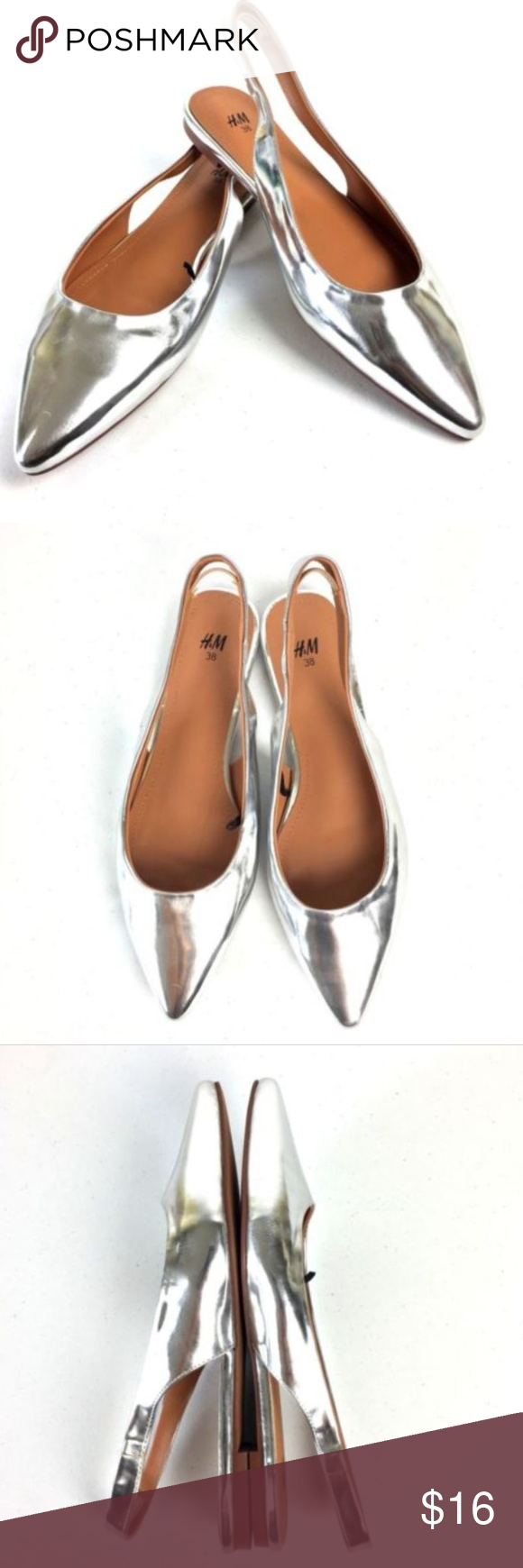 I Just Added This Listing On Poshmark H M Silver Flats Sling Back Pointed Toe Shopmycloset Poshmark Fashion Shopping S Silver Flats On Shoes H M Shoes