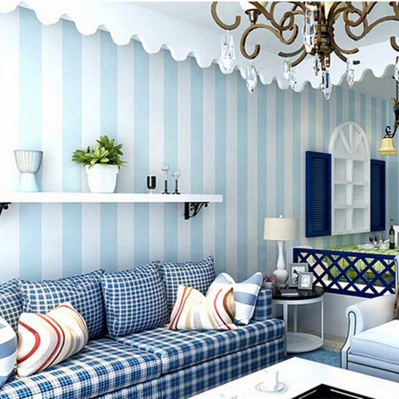 Best Beibehang Wallpaper Cozy Bedroom Vinyl Wallpaper Blue 400 x 300