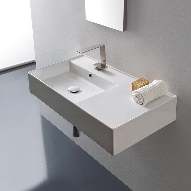 Rectangular Ceramic Wall Mounted Or Vessel Sink With Counter Space - Commercial wall mounted bathroom sinks