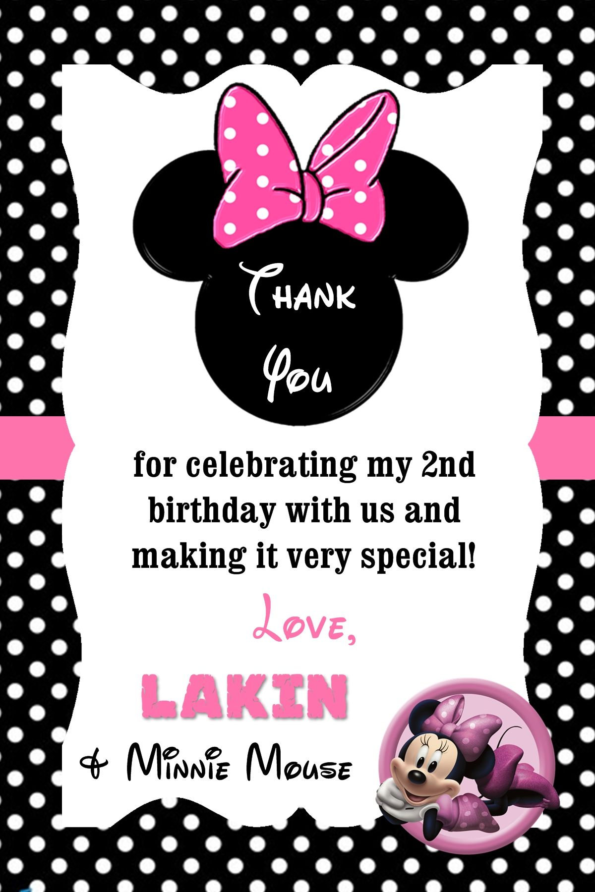 Minnie Mouse Birthday Thank You Notes (can easily be made