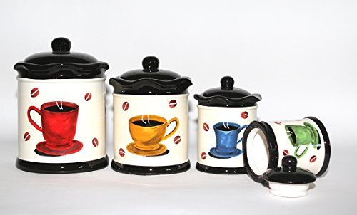 themed kitchen canisters tuscany colorful coffee bean hand painted canister set of