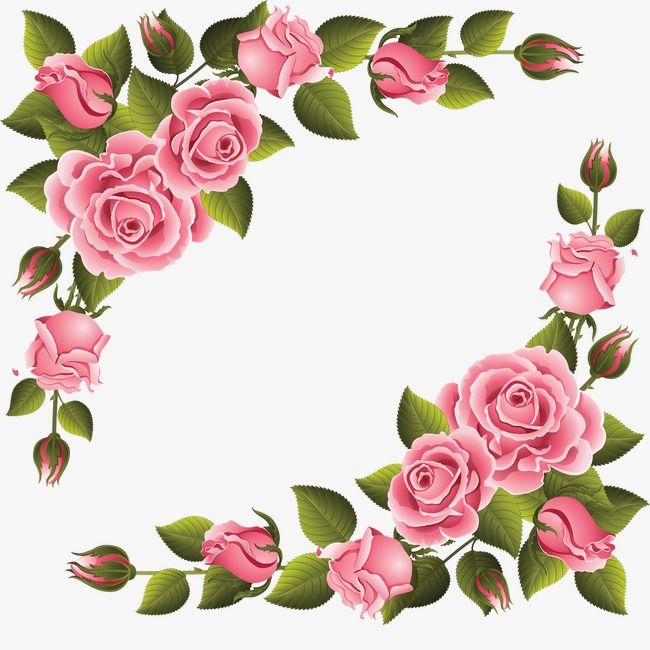 Elegant Pink Roses Shaped Pattern Hand Painted Flowers Hand Painted Plants Plant Design Png Transparent Clipart Image And Psd File For Free Download Flower Art Floral Border Design Flower Clipart