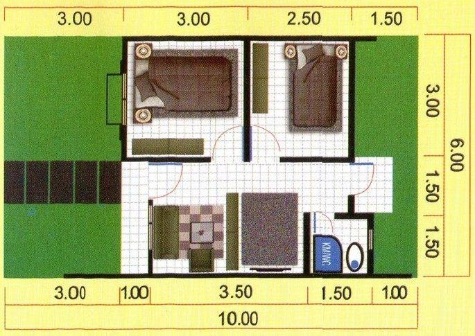 Gambar Denah Rumah Minimalis Type 36 60 Desain Minimalis In 2019