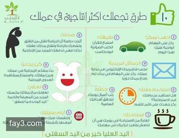 انفوجرافيك عشرة طرق تجعلك اكثر انتاجية في عملك Learning Websites Life Skills Positive Life