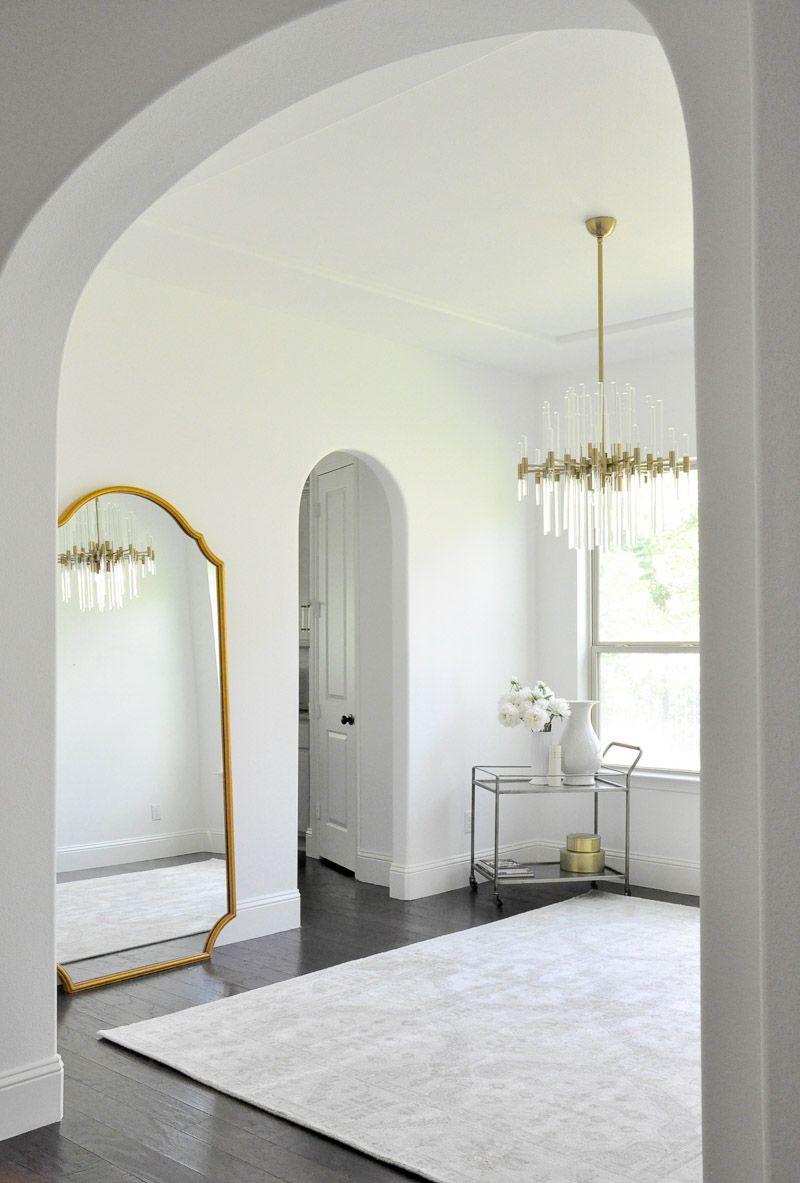 Beautiful Gold Framed Transitional Floor Mirror #diningroom  #diningroomupdate #diningroommakeover Gold Designs, Interior