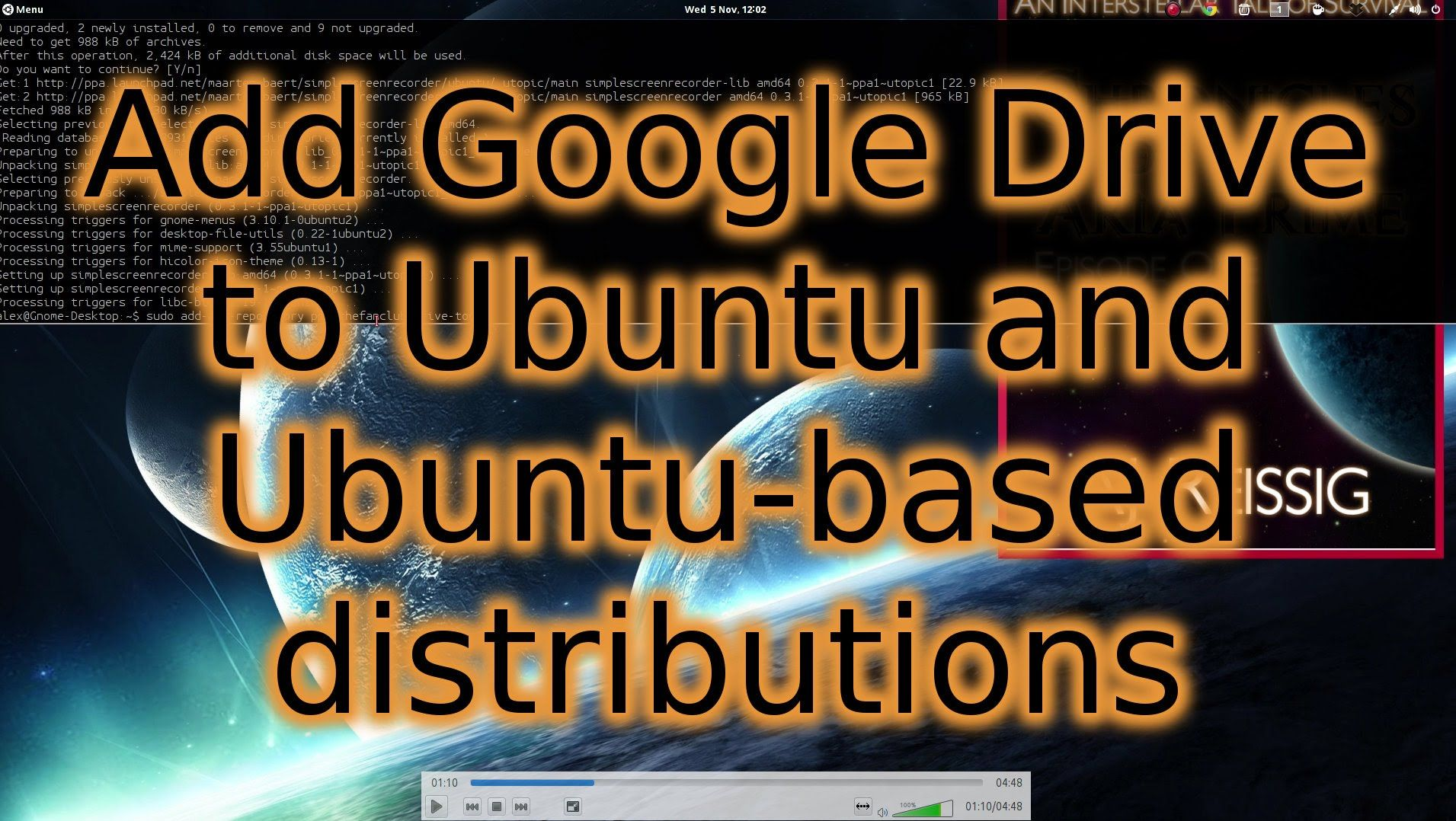 A quick tutorial showing how to link Google Drive to Ubuntu-based distributions.