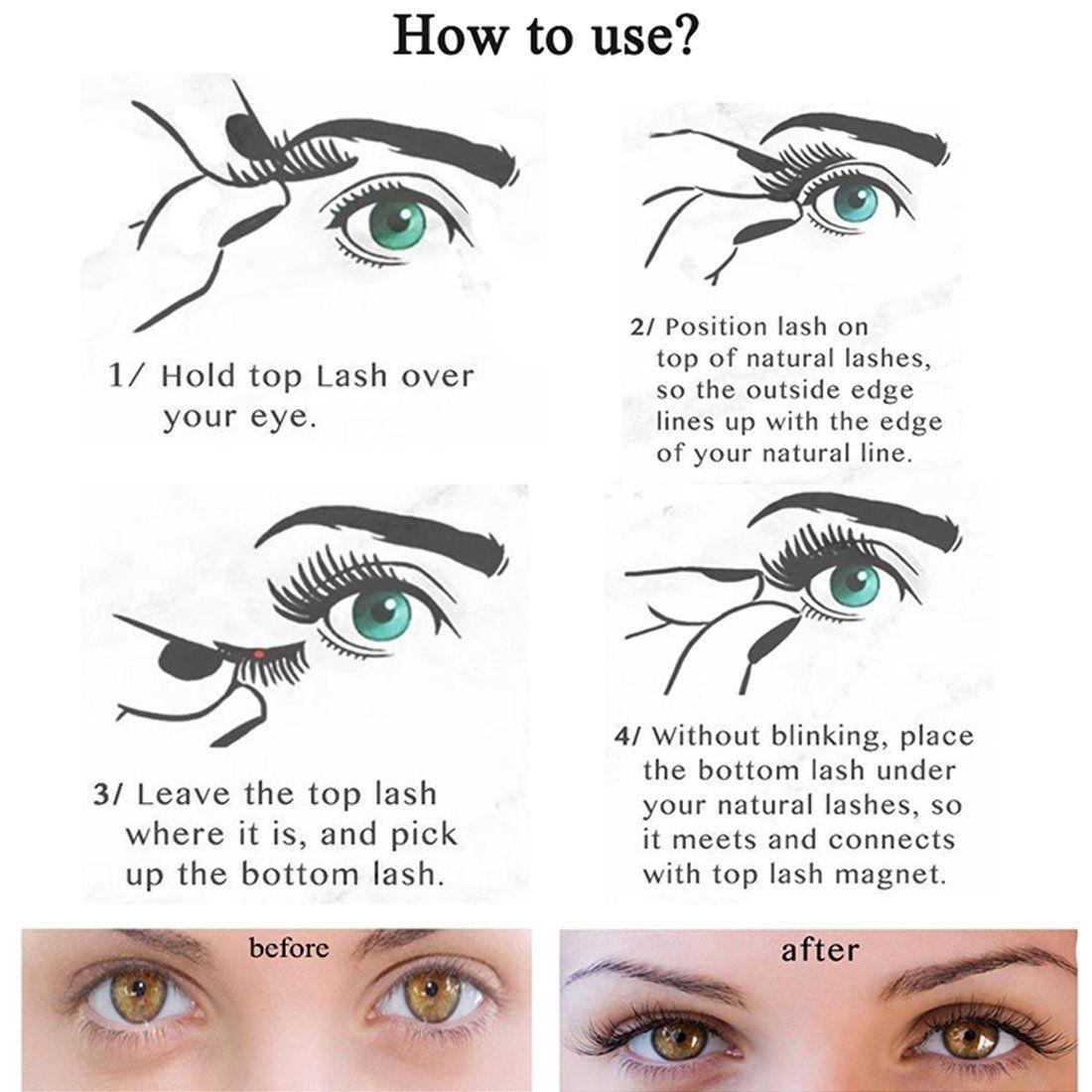 Fake Eyelashes With Magnet [No Glue] 3D Reusable Soft