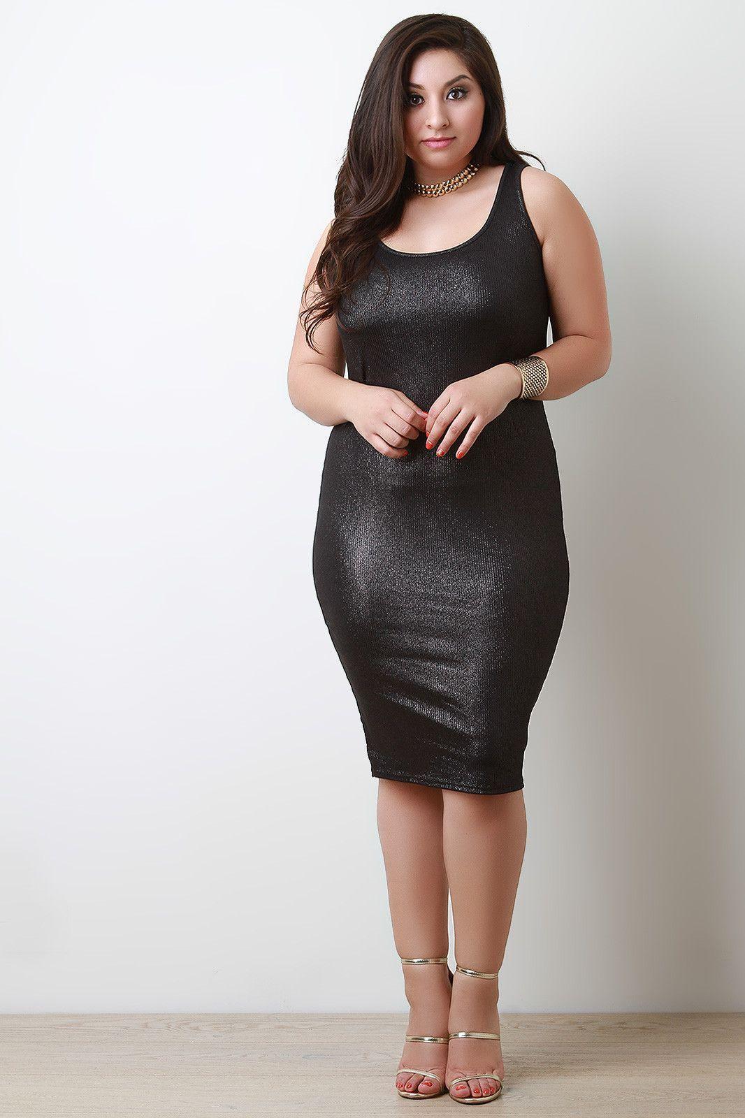 Rib Knit Shimmer Sleeveless Dress