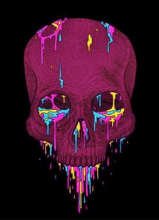 Colored Skull Skull Illustration Skull Art Psychedelic Art