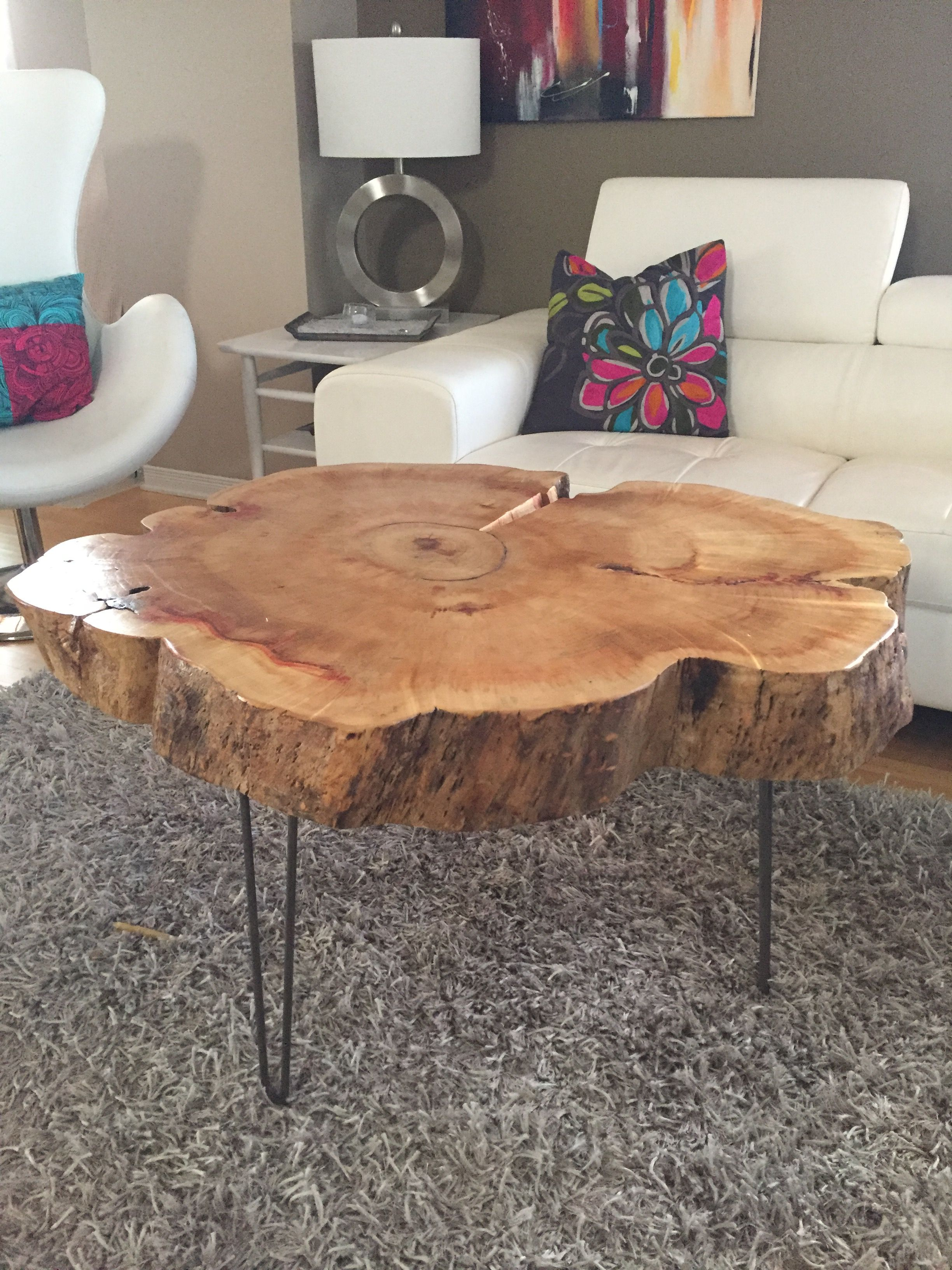 Tree Trunk Table with Metal Legs Wood Coffee table with hairpin