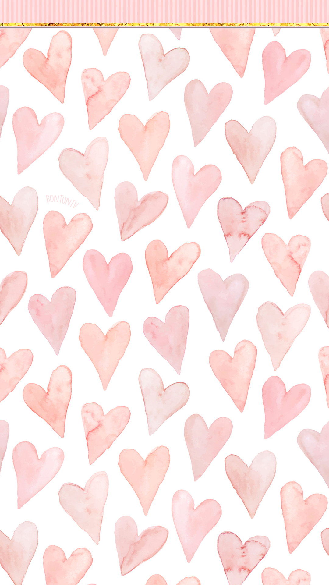 Phone Wallpapers Hd Cute Pink Hearts With Golden Details By Bonton Tv Free Backgrounds 1080x1920 Wallp Cute Pink Background Phone Wallpaper Watch Wallpaper
