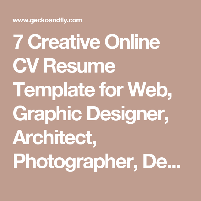 7 Creative Online CV Resume Template For Web, Graphic