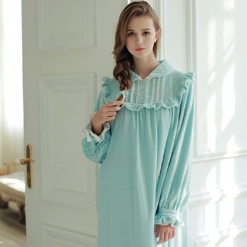 Winter Women s Princess Long Nightgowns Soft Velvet Long Sleeve Thick  Sleepwear Royal Roupas De Dormir Femininas 029 ae796884f
