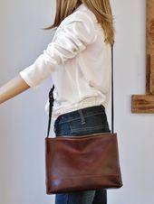 Bolso bandolera de cuero marrón Bolso bandolera bolsa de viaje ligera Marrón #color …