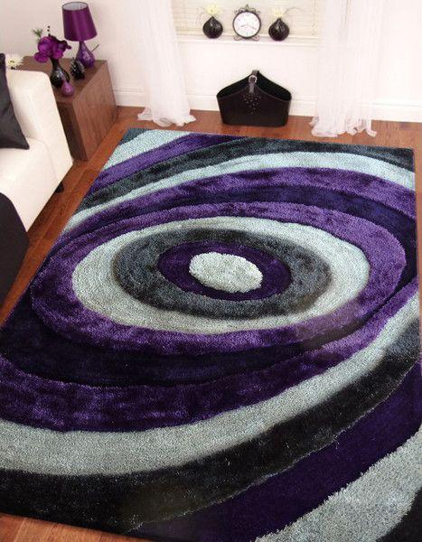 Charming Handmade Purple U0026 Gray Dimensional Shag Area Rug With Hand Carved Design