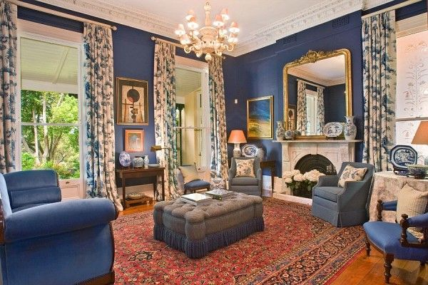 Classic Victorian living room in blue and gold | Victorian ...