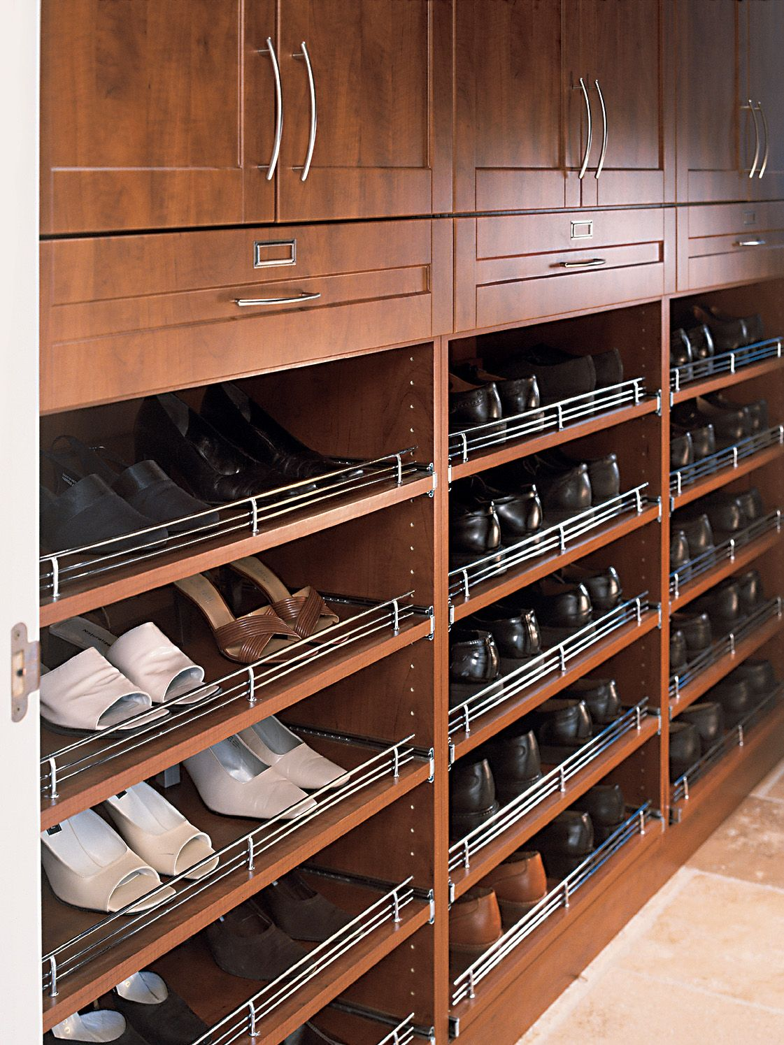 Shoe Racks With A Metal Ledge To Prevent Them From Sliding Out