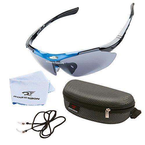 ROBESBON Herren Polarisierte Sonnenbrille UV400 Fahrradbrille Kunststoff Rahmen Sportbrille Brillenetui Brillenbeutel Radbrille Herrenbrille - Blau und Schwarz Rahmen