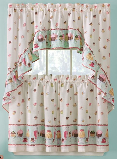Sweet Life curtain set is a wonderful print with cakes, pies & cup ...