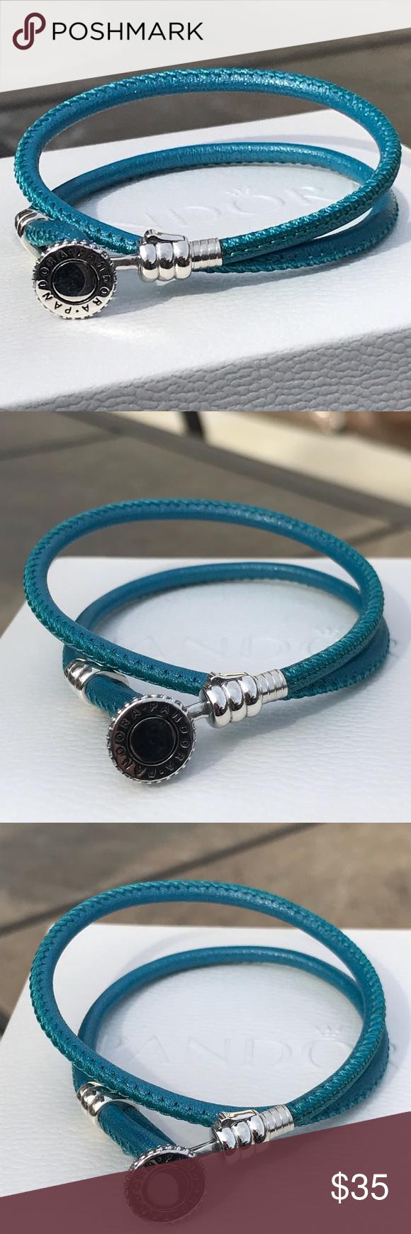 7177b74f331d3 Pandora Turquoise Double Leather Bracelet Authentic Pandora Bracelet ...