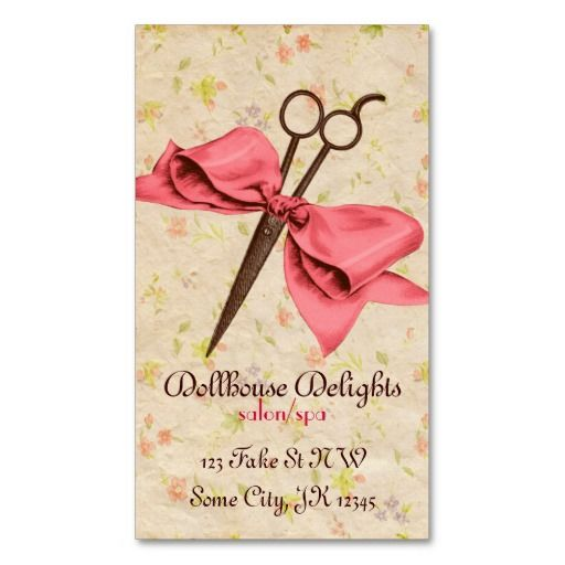 Vintage girly hair stylist pink bow floral shears business card vintage girly hair stylist pink bow floral shears business card template reheart Image collections
