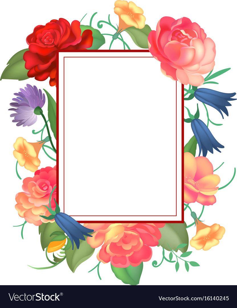 Postcard With A Square Frame Of Roses On White Background Design For Greeting Cards Wedding Invitations Sp Pink Background Images Floral Border Design Frame