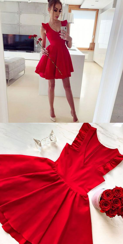 V Neck Red Homecoming Dress Short Prom Dresses Under 100