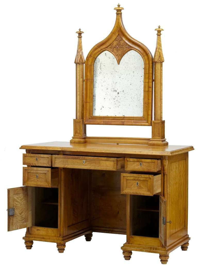 stunning Gothic Vanity For Sale Part - 8: 19th Century Swedish Birch Gothic Vanity Dressing Table and Mirror | From a  unique collection of