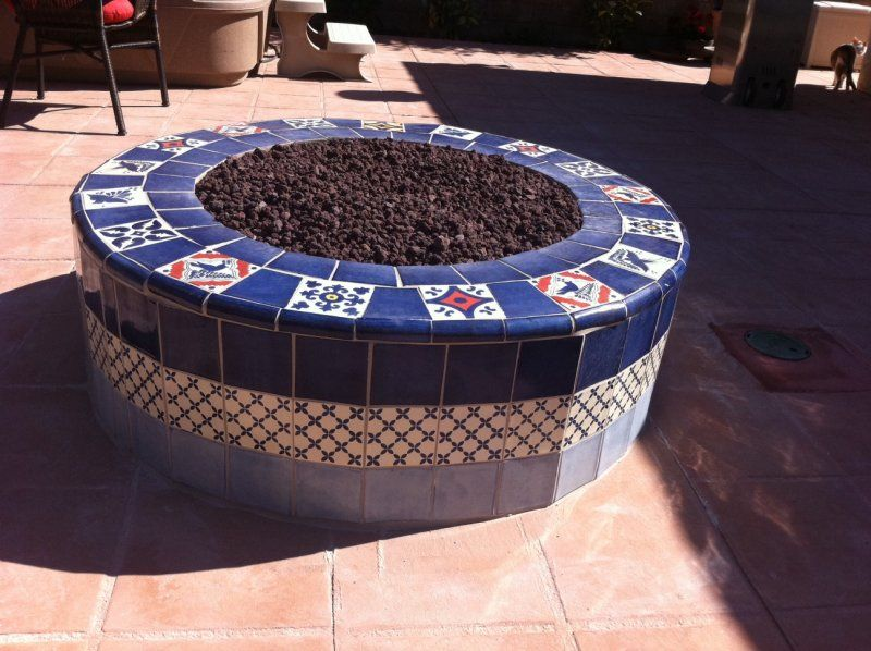 Closeup Outdoors Mexican Tile In A Firepit Mexican Home Decor Gallery Mission Accesories