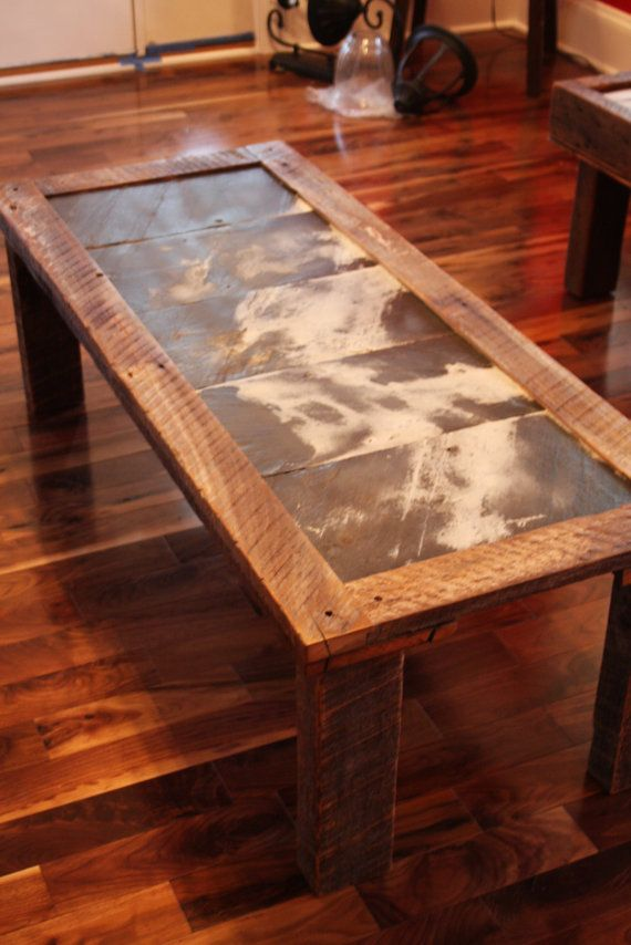 Reclaimed Roofing Slate Top Coffee Table Etsy Slate Top Coffee Table Coffee Table Slate Roof Tiles