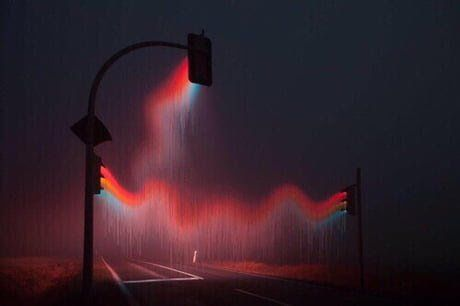 Long exposure picture of traffic lights in rain