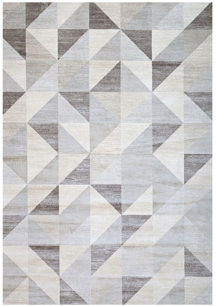 Modern Silver Gray And White Geometric Triangle Pattern Rug
