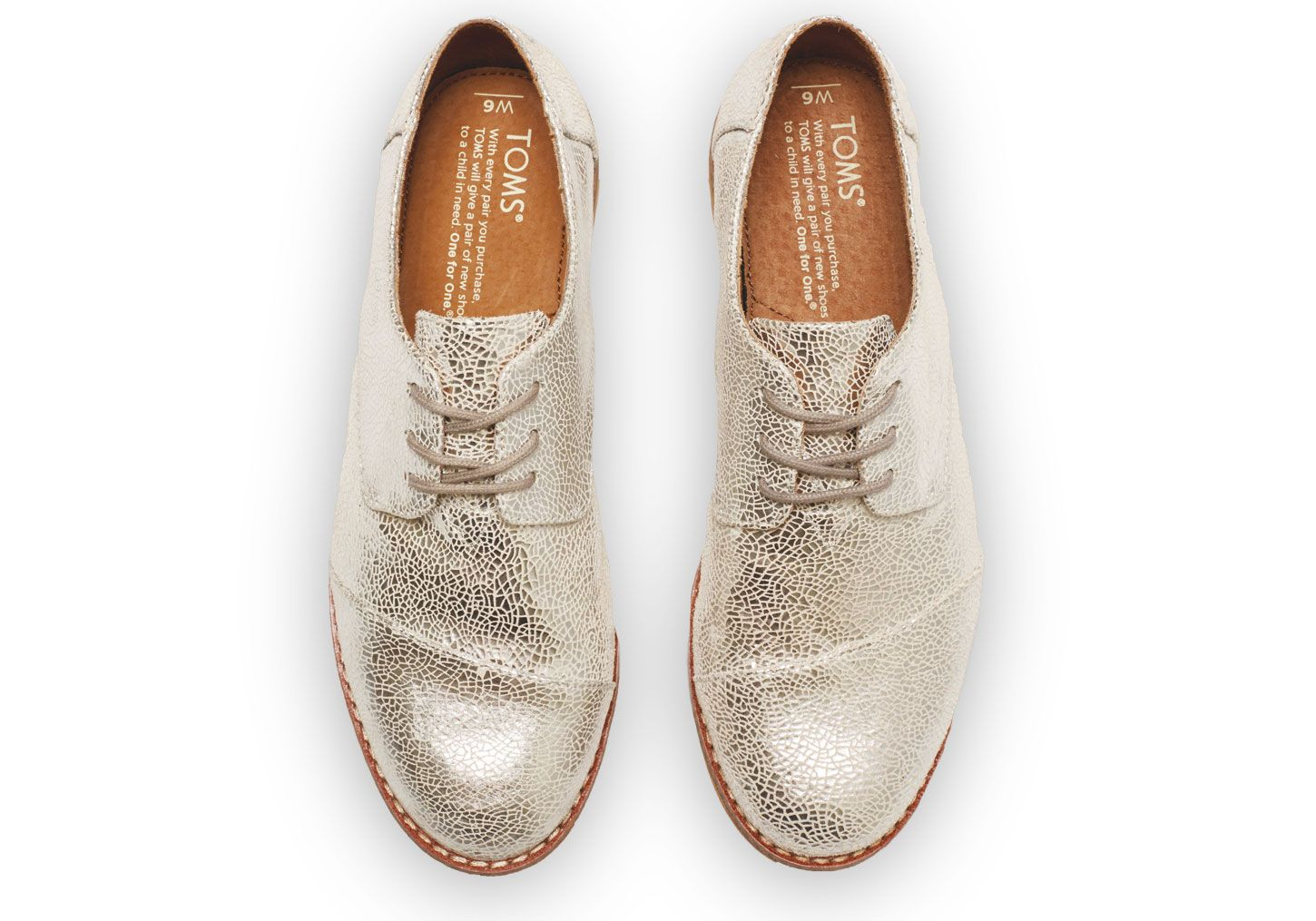 TOMS Silver Crackled Brogues for women. A little sparkle in every step!