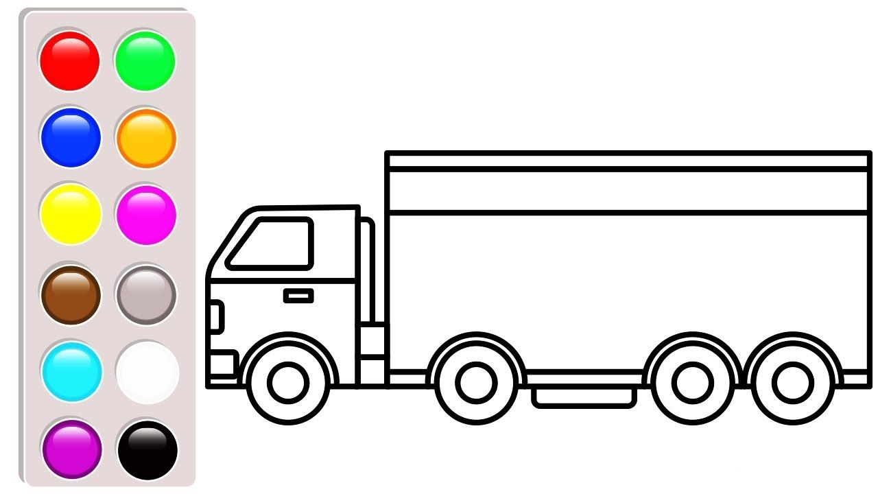 Delivery Truck Coloring Pages Car And Truck Colouring Book Learn