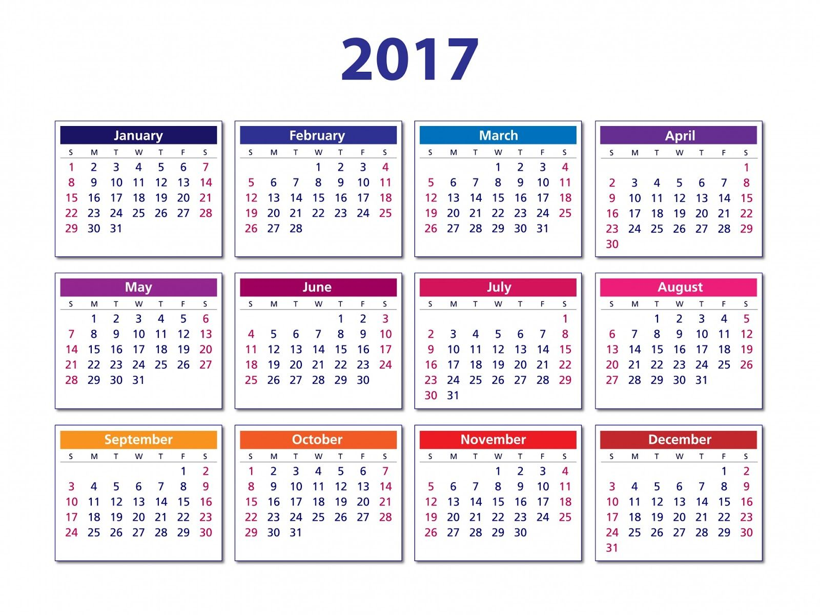 Kalendar 2017 simple and printable | calendar | Pinterest | Simple