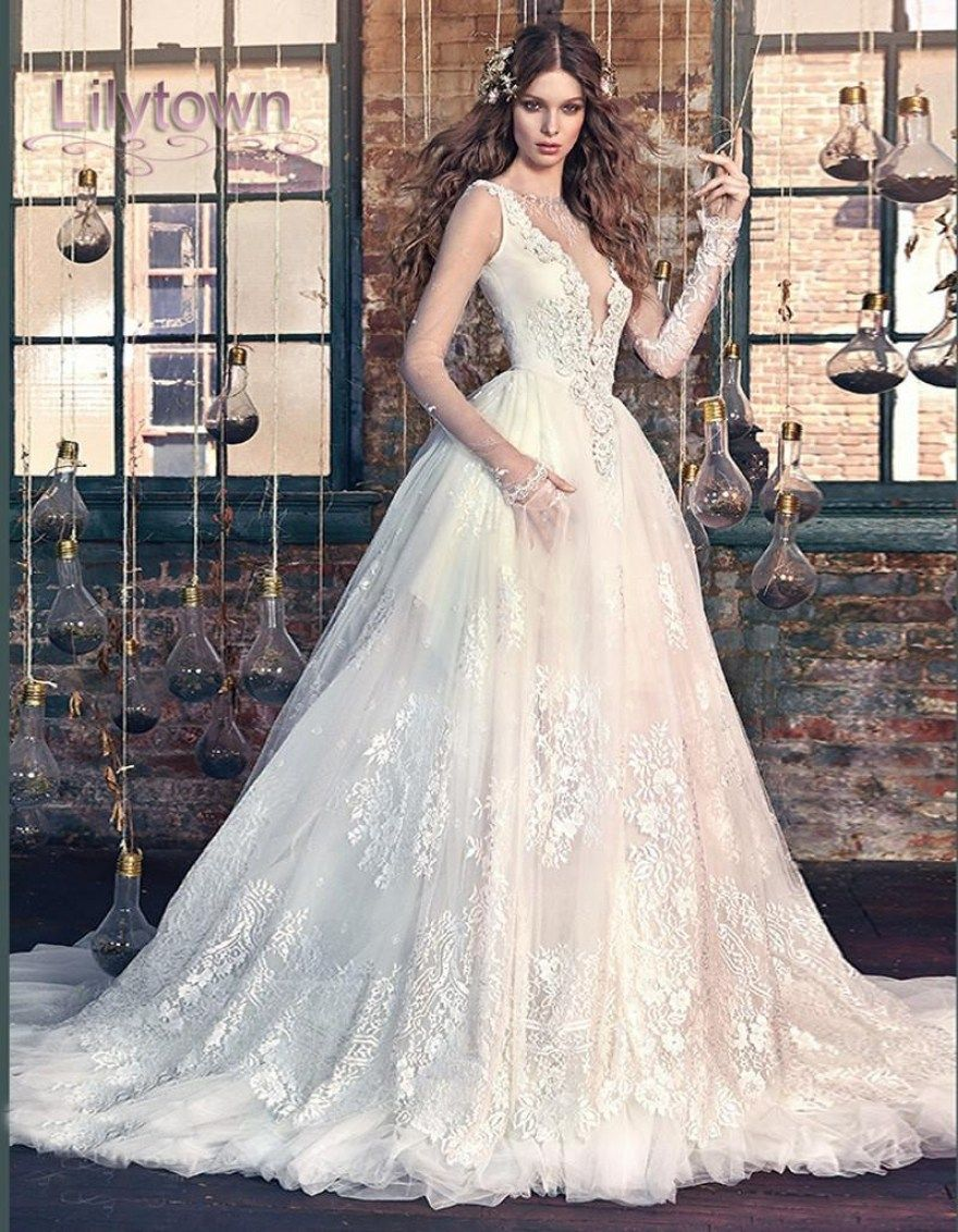 30 beautiful snow white wedding dresses snow white wedding dress 2016 lace sheer long sleeves deep v plunging neckline ball gown throughout snow white wedding dresses junglespirit Image collections