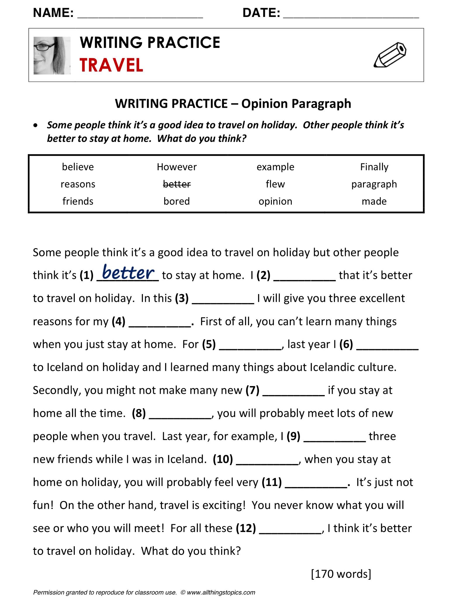 Travel, Writing Practice, English, Learning English, Vocabulary, ESL ...